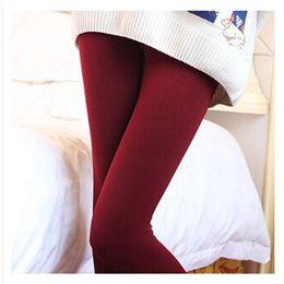 Wholesale Napped Pants - 2015 Autumn Winter Women Leggings Warm Winter Skinny Slim Ankle Length Leggings Napping Solid Color Nine Pants Charming Leggings
