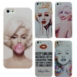Wholesale I Phone Hard Cover - Free Shipping Stylish Marilyn Monroe Bubble Gum Protective Hard Cover Case For Apple i Phone iPhone 5 5S