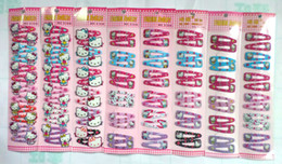 Wholesale Hair Accessories Snap Clip - Free Shipping Mixed Color Hello Kitty Children Hair Accessory Haripin Snap Hair Clips Girls 240 pcs
