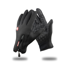 Wholesale Driver Gloves - Free shipping winter motorcycle gloves ,Car driver guantes, warm & Touch Gloves black -30 riding glove