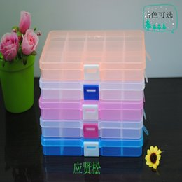 Wholesale Jewelry Organizer Compartments - Via Fedex, DIY 15 Compartment Plastic Clear Storage Box Jewelry Nail Art Container Sundries Organizer, 480PCS