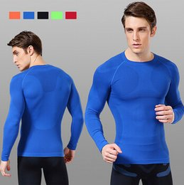 Wholesale T Shirt Muscle Print - New fitness men long sleeve basketball running sports t shirt men thermal muscle gym bodybuilding compression tights tee shirts