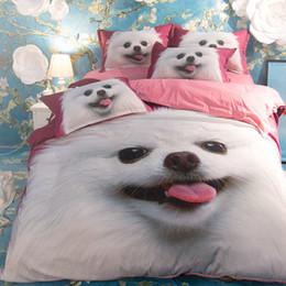 Wholesale Queen Pink Comforter Set - Pink Dogs 3 or 4 Pieces Set Comforter Bedding Sets 3D Reactive Printing Beds Bed Sheet Set Duvet Cover Beddings set