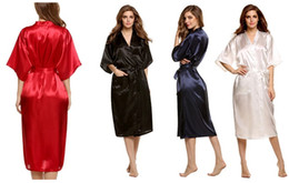 Wholesale Bridesmaid Night - Fashion Women's Solid Silk Kimono Robe for Bridesmaids, Wedding Party Night Gown Pajamas,5 colors available Free Shipping