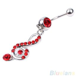 Wholesale Music Belly Button Rings - Rhinestone Music Note Dangle Navel Belly Button Bar Ring Body Piercing Jewelry 1V8S