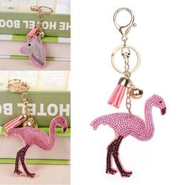 Wholesale Golden Unicorn - Popular Crystal Flamingo Unicorn Head Keychain Golden Chain Keychain Bag Car Hanging Pendant Jewelry Flamingo Key Chains D322Q