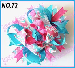 Wholesale Chevron Hair Bows Wholesale - free shipping fashion 65pcs fashion chevron hair bows girl funky hair bows popular hair accessories baby hair clips