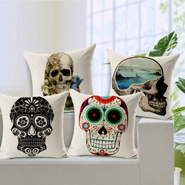 Wholesale Cool Designs Cushion - Skull Cushion COOL fashion design Cover Halloween Throw Pillow Case Home Decoratiion sofa set decor Cover 45*45cm