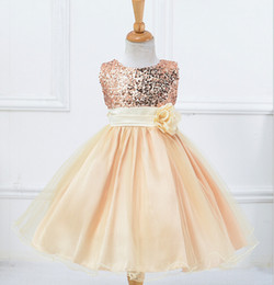 Wholesale Wholesale Summer Wedding Dresses - Baby Girls Dresses Party Lace Sequins Colorful Clothing Kids Children Clothes Girls Wedding Party dresses free shipping