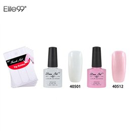 Wholesale Gel For Nails Kit - Wholesale-Beau 7.3ml Nail Gel Polish French Manicure Kit Set Free Tip Guides Decorations For Nail Art
