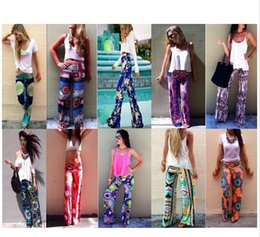 Wholesale New Style Trousers For Women - new Summer Ethnic Style Harem Palazzo Wide Leg Hip Hop Disco High Waist Floral Printed Straight Jeans Pants Trousers For Women Sarouel Femme