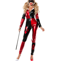 Wholesale Clown Custom - Harley Quinn Costume Women Adult Batman Sexy Cosplay Bodysuit Catsuit Party Halloween Costumes For Women Supergirl Clown Fancy Dress Custom