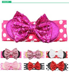 Wholesale Big Sequin Bow Headbands - Newest Baby Girls Big Paillette Bow Headbands Kids Christmas Stripe Poka Dot Head bands Sequins Bowknot Bunny Ear Hair Accessories
