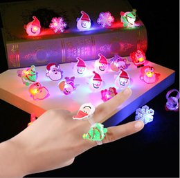 Wholesale led flashing jelly rings - Cute Cartoon Christmas Halloween Blinking LED Light Up Jelly Soft Finger Rings Lights Flash Luminous Ring Toy