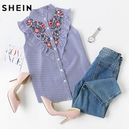 Wholesale Square Trim - Wholesale- SHEIN Sleeveless Top Women Summer Women's Blouses Tops Blue Striped Ruffle Trim Embroidered Band Collar Sleeveless Blouse