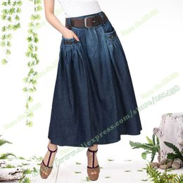 Wholesale Denim Skirts For Women - Free Shipping 2016 New Vintage Fashion Summer Denim All-match Loose Casual Jeans Long Skirts For Women With Belt S-L Denim Skirt