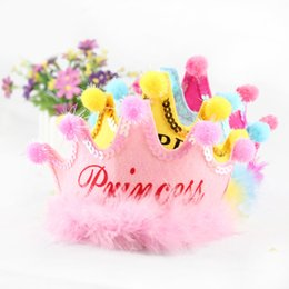 Wholesale Princess Birthday Hats - Multi Colors Birthday Party Kids Hat Headband Princess Prince Imperial Crown Cosplay Props Carnival Masquerade Performance Decoration 20pcs