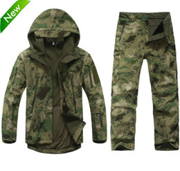 Wholesale Tad Gear Jackets - Fall-Outdoors Shark skin lurkers soft shell tad gear tactical military fleece jacket+ uniform pants suits Camouflage hunting clothes