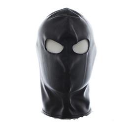 Wholesale Leather Gimp Hoods - w1023 Quality Latex Leather Gimp Eyes Open Mask Hood Fetish Bondage Restraint Begineer