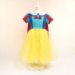 Wholesale Stocking Bows - princess snow white dress girl snow white costume kids stage performance dress snow white cape free shipping in stock