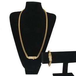 Wholesale cross casting - High Quality Hiphop Men Necklace Chain Stainless Steel Exquisite Casting Buckle Gold Necklace Bracelet Suit Wholesale