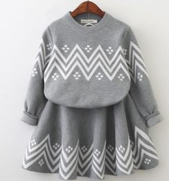 Wholesale 18 Month Winter Dress - Baby Girls Sweater Dress 2017 Winter Geometric Pattern Dress Long Sleeve Girls Clothes Top Coat+ Tutu Dress Sweater Knitwear 2pcs