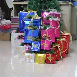 Wholesale Paper Xmas Trees - Foldable Christmas Gift Box Paper Santa Gift Box Candy Bag Xmas Store Decoration Blinking Detachable Packaging