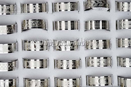 Wholesale Indian Style Rings - 50pcs lot Silver Stainless Steel Fashion Mix Style Women Mens Rings Wholesale Jewelry R158 free shipping-1