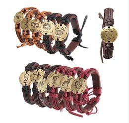 Wholesale United Leather Bracelets - Europe and the United Fashion chain states 12 zodiac couple twine weaving handmade genuine leather bracelet small jewelry