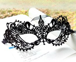 Wholesale Lady Masquerade - New type Masquerade Mask Halloween Exquisite Lace full Face Mask Necklace mask For Lady Black Fashion Sexy Free Shipping