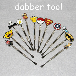 Wholesale Water Pokemon - Wholesale Newest Poke Packet Mon Cartoon Metal Dabber Glass Bongs tool for Oil Wax Glass Water Pipe Dab Oil Rigs