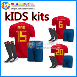 Wholesale National Team Soccer Uniforms - Kids Jerseys 2018 Spain kids Soccer Jerseys Chandal national team Spain Youth Jersey Football Shirt MORATA ISCO ASENSIO football Uniforms