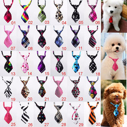 Wholesale White Dog Bow Tie - 100 pcs Fashion Polyester Silk Pet Dog Necktie Adjustable Handsome Bow Tie Necktie Grooming Supplies
