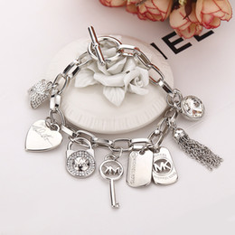 Wholesale Silver Charm Link Chain Set - 2015 hot Alloy key bracelets with love heart gem 925 sterling silver or gold plated pendants Charm Bracelets Bangle jewelry for men women