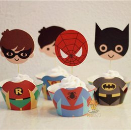 Wholesale Batman Birthday Decorations - Cartoon Design Kids Birthday Xmas Event Party Decoration Cupcake Wrapper Spiderman   Batman   Superman   Iron Man Available Free Shipping
