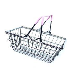 2019 i carrelli della spesa del supermercato Mini carrello della spesa Supermercato Giocattolo per bambini Desktop Cosmetici Varie Organizer Cesto portaoggetti in ferro 14,5 * 10,5 * 5,5 cm i carrelli della spesa del supermercato economici
