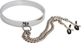 Wholesale Mens Adult - mens neck collar bdsm slave neck collar with nipple clips bondage gear adult sex toys for men MJSM435