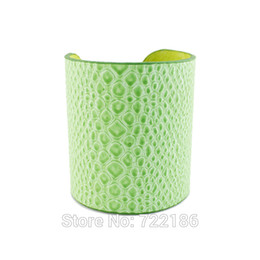 Wholesale Wholesale Arm Candy Bracelets - Wholesale-Snake Skin Bangles Designer Jewelry Exaggerate Candy Color Pu Leather Arm Cuff Bracelets and Bangles for Women