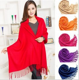 Wholesale Tassel Scarfs Sale - Hot Sales MIC tassels Pashmina Cashmere Solid Shawl Wrap Women's Girls Ladies Scarf Soft Fringes Solid Scarf 40Colors