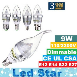 Wholesale E14 Candle Led 7w - Super Bright Dimmable Led Candle Lights 9W E14 E12 E27 B22 Led Bulbs Light For Chandelier Led Lighting AC 110-240V + CE ROHS UL CSA
