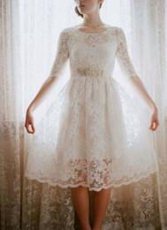 Wholesale Cowl Neck Prom Dress - Hot Short Beach Wedding Prom Dresses Custom Made Knee Length Half Sleeve A Line Crew Line 2015 Bridal Gown Wedding Party Dress Zipper Back