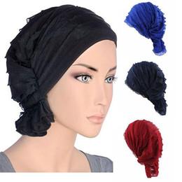 Wholesale knitted beachwear - New fashion Women wrinkle Ruffle Chemo Hat Beanie Scarf Turban Headwear for Cancer