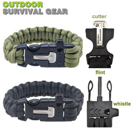 Wholesale Survival Bracelet Whistle Buckles - 2015 New 550LB paracord survival bracelet buckle with flint & whistle & cutter , outdoor camping survival equipment sobrevivencia