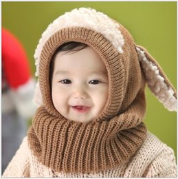Wholesale Wholesale Winter Hats Gloves Scarfs - Baby Boys Girls Hats Splicing Scarf with Dog Ears Brand Kids Winter Crochet Earflaps Caps Glove Solid Sets Warmth Red Yellow Blue Pink K2096