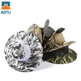Wholesale Map Cool - Wholesale-Fashion Cool Sourcing Map Camouflage Pattern Cloth, Nylon Outdoor Camping Fishing Wide Brim Camouflage Sun Hat for Men