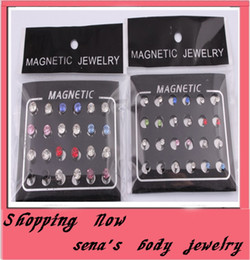 Wholesale Stainless Steel 3mm - mix color 48pcs lot 5 3mm magnetic circle rhinestone stud earring magnetic earrings