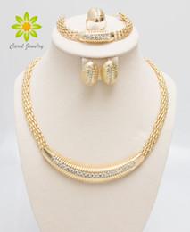 Argentina Envío gratis 24 K Gold Filled Popular Necklace Earrings Bracelet Ring African Fashion Women Big Jewelry Sets supplier 24k gold bracelet free shipping Suministro