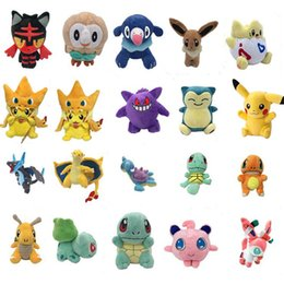 Wholesale Stuffed Animals Anime - Pikachu Plush Toys dolls Squirtle Charmander Bulbasaur Pikachu Plush cartoon Stuffed animals soft Christmas gift toys