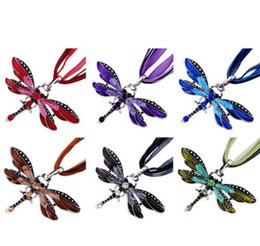 Wholesale Assorted Necklace Pendants - Assorted Color Dragonfly Crystal Pendant Necklace Lace String Necklace Women Statement Necklaces Brand New Bronze Retro Jewelry