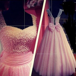 Wholesale Lovely Sexy Gowns - Lovely Pink 2018 Ball Gown Prom Dresses with Bowknot Spaghetti straps lace up Pageant gowns Beaded pearls tulle evening dresses quinceanera
